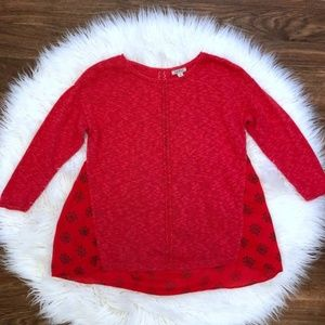 Lucky Brand Red Mixed Media Mosiac Linen Sweater M
